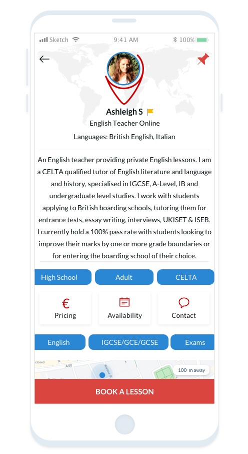 An English teacher providing private English lessons. I am a CELTA qualified tutor of English literature and language and history, specialised in IGCSE, A-Level, IB and undergraduate level studies.