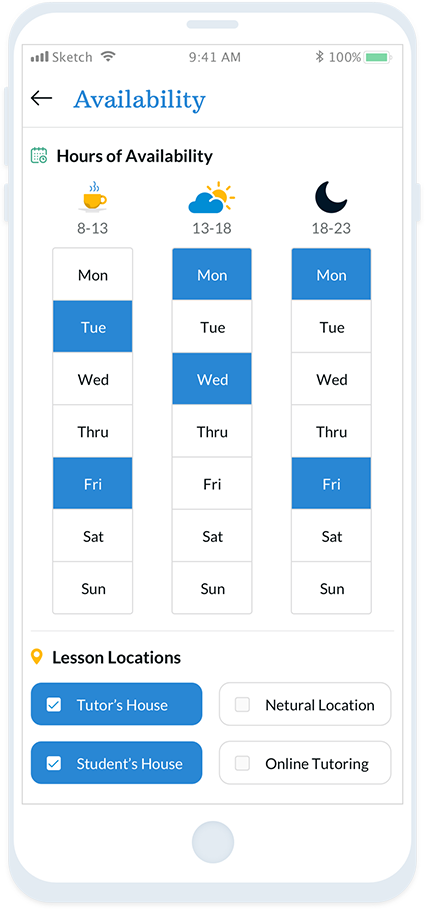 Check a Tutor's availability to find a match! Tutor hours and days are easily viewable.